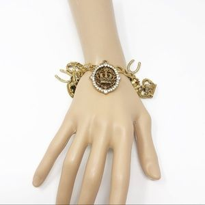 Gold-Tone Crown, Cross And Wishbone Charm Bracelet